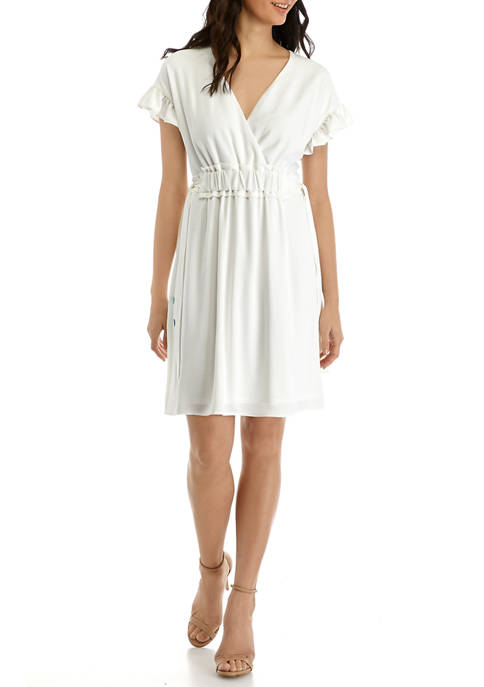 Emma & Michelle Womens Drawstring Ruffle Dress