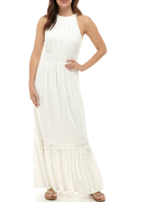 Womens Halter Neck Flounce Hem Dress