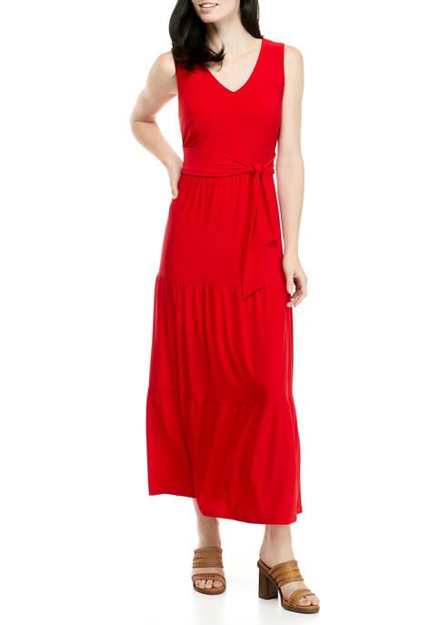 Womens V-Neck Tiered Maxi Dress