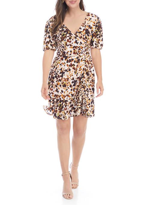 Emma & Michelle Womens Short Sleeve Leopard Print