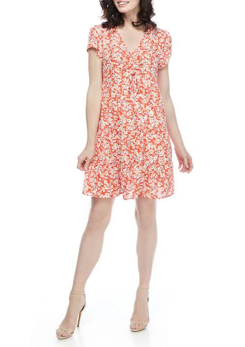 Emma & Michelle Womens Floral Flutter Sleeve Dress