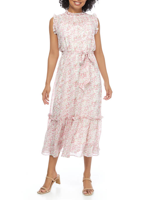 Womens Ruffle Sleeve Ditsy Belted Tier Dress