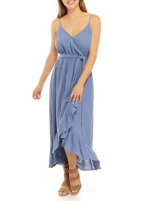 Womens Ruffle Gauze Surplice High Low Dress