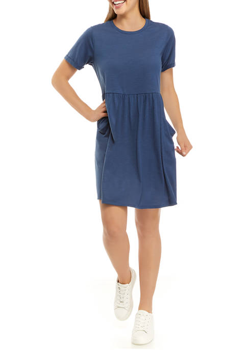 Emma & Michelle Womens Short Sleeve Babydoll Dress