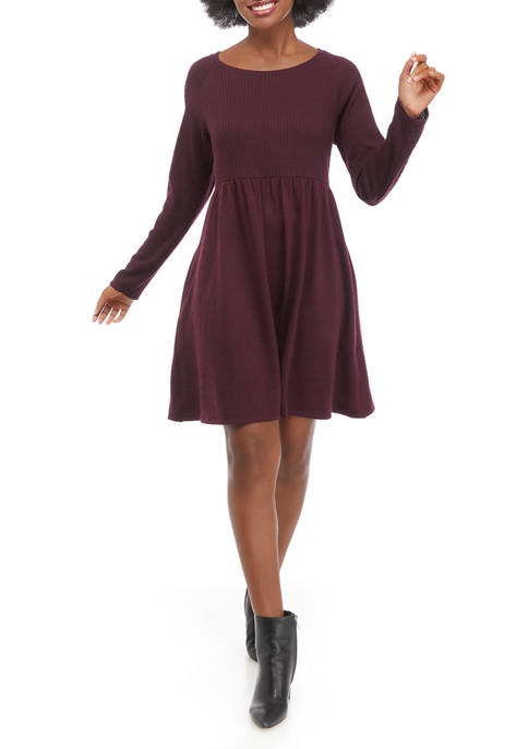 Womens Long Sleeve Ribbed Babydoll Dress