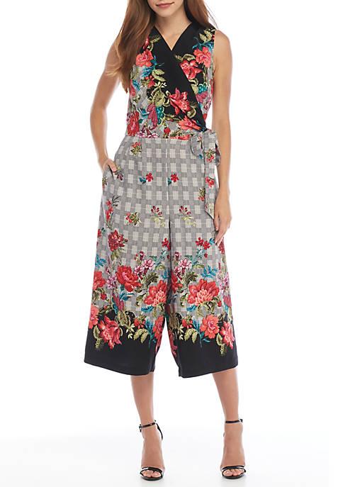 Emma & Michelle Sleeveless Floral Plaid Wrap Jumpsuit