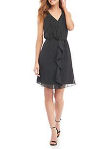 Sleeveless Ruffle Front Pin Dot Dress