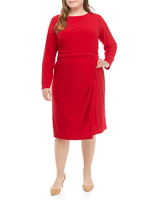 Emma & Michelle Plus Size Long Sleeve Tie