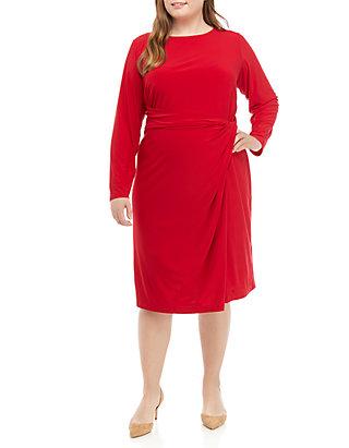 Plus Size Long Sleeve Tie Front Knit Dress