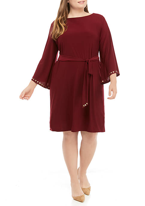 Plus Size Stud Trim Dress