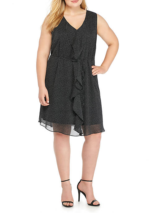 Emma & Michelle Plus Size Sleeveless Ruffle Front
