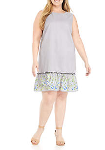 Plus Size Drop Waist Stripe Embroidery Dress