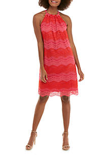 Trina Turk Sleeveless Lace Chevron Retreat Dress