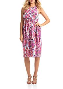 Trina Turk Sleeveless Printed Smock Waist Dress