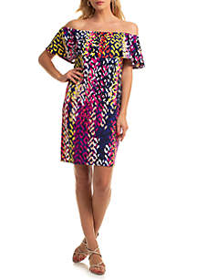 Trina Turk Off The Shoulder Merci Printed Dress