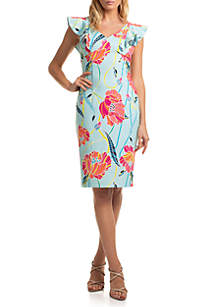 Trina Turk Flutter Sleeve Printed Linzy Dress
