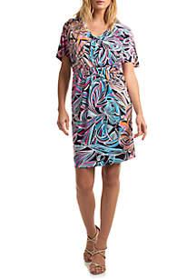 Trina Turk Short Sleeve Printed Bias Dress