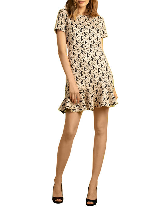 Womens Short Sleeve Flounce Hem Form Dress