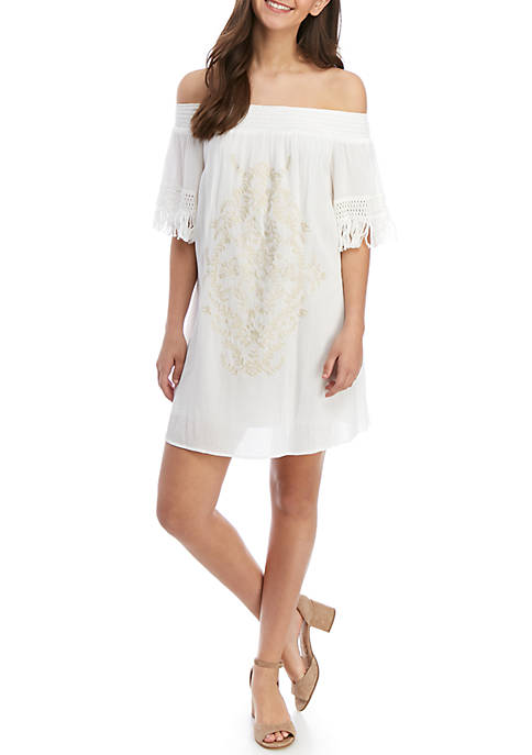 Jolt Off The Shoulder Embroidery Fray Dress