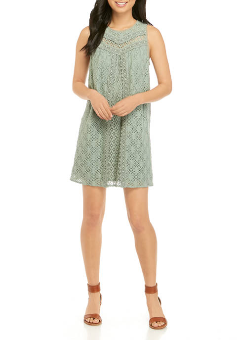 Juniors Crochet Lace Shift Dress
