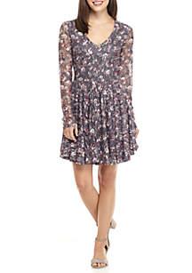 Long Sleeve Printed Lace Dress