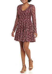 Long Sleeve Printed Lace Dress