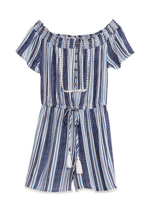 Jolt Juniors Off-the-Shoulder Romper with Tie Front Detail