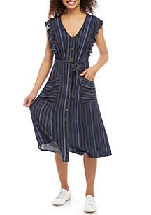 Jolt Midi Ruffle Sleeve Tie Front Pocket Dress