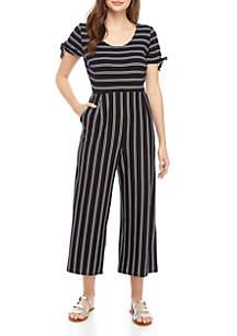 Jolt Knit Stripe Cropped Jumpsuit