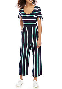 Stripe Knit Cropped Jumpsuit