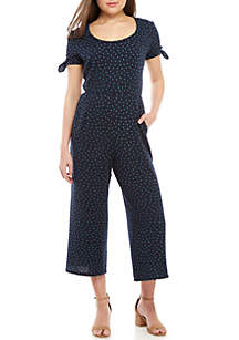 Dot Knit Cropped Jumpsuit