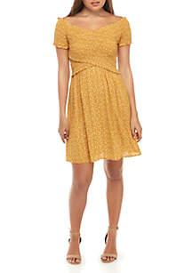 Jolt Smocked Off the Shoulder Printed Knit Dress