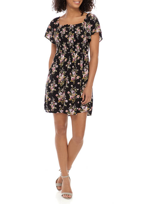 Jolt Juniors Square Neck Smocked Floral Dress