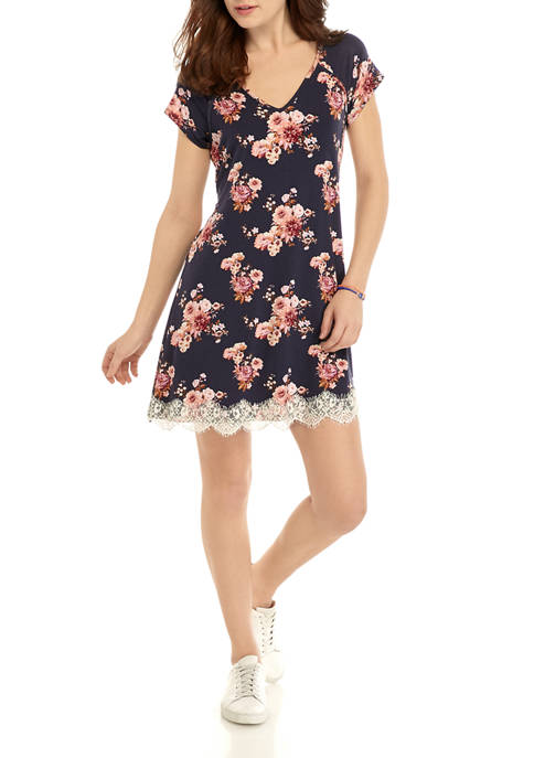 Juniors Short Sleeve Lace Hem Dress
