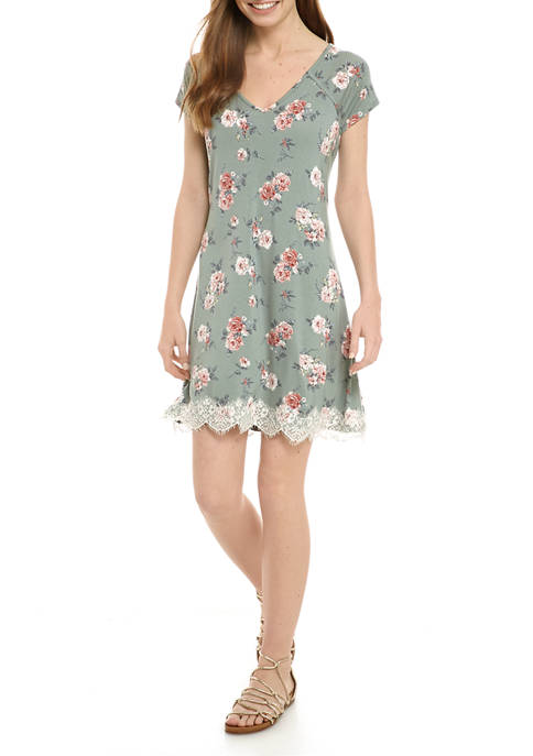 Jolt Juniors Short Sleeve Lace Hem Dress