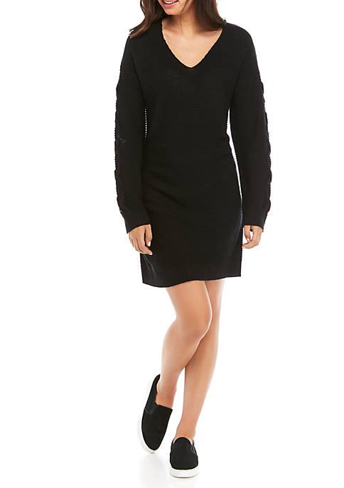 Jolt Juniors Lace Up Sleeve V-Neck Sweater Dress