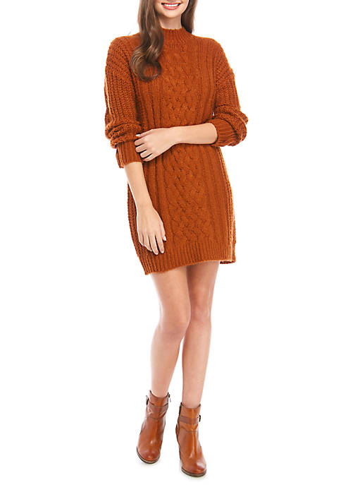 Juniors Long Sleeve Cable Knit Sweater Dress
