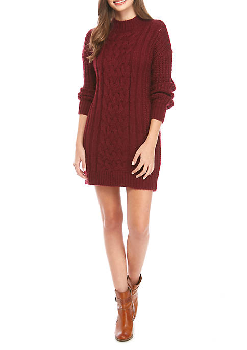 Jolt Juniors Long Sleeve Cable Knit Sweater Dress