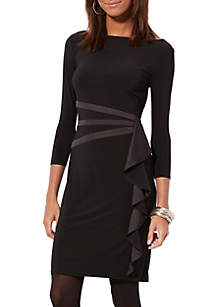Satin-Trimmed Ruffled Dress