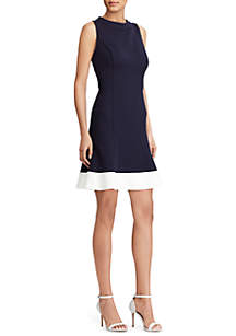 Kerri Two-Tone Sleeveless Mock Neck Dress