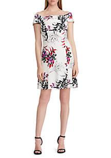 Floral Jersey Off-The-Shoulder Dress