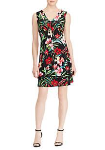 Tropical Floral-Print Jersey Dress