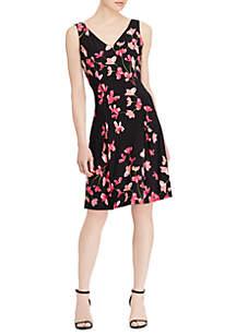 Roland Matte Floral-Print Sleeveless Jersey Dress