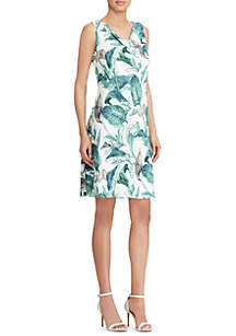 Scout Crepe Tropical-Print Georgette Dress