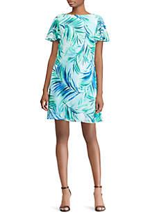 Goldia Georgette Fern-Print Ruffled Dress