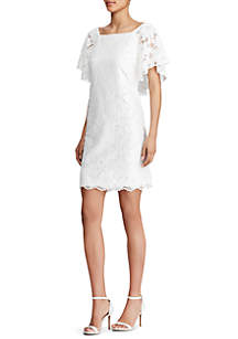 Wendall Lace Flutter-Sleeve Dress