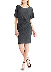 Pablo Short Sleeve Matte Jersey Solid Knit Cinch Dress