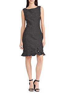 Dot-Print Ruffled Jacquard Dress