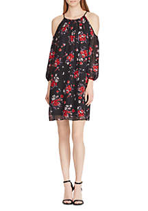 Floral Georgette Cold-Shoulder Dress