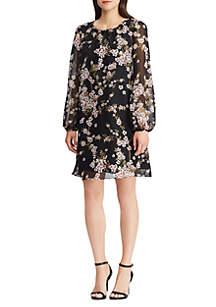 Long Sleeve Floral Georgette Print Dress